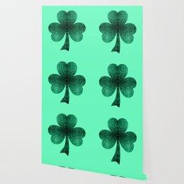 Emerald green shamrock clover sparkles Wallpaper