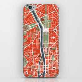 Paris city map classic iPhone Skin