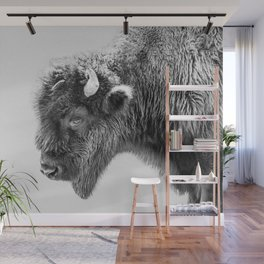 Animal Photography | Bison Portrait | Black and White | Minimalism Wall Mural