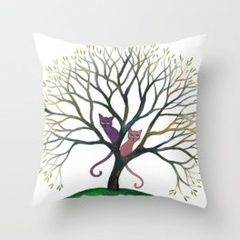 Maryland Whimsical Cats in Tree Throw Pillow