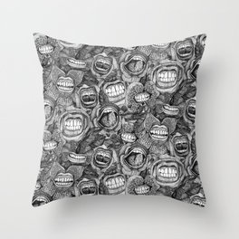 BITE ME roses and orchids BLACK WHITE Throw Pillow