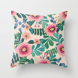 Colorful Tropical Vintage Flowers Abstract Throw Pillow