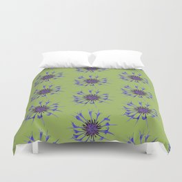Thin blue flames in a sea of green Duvet Cover