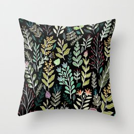 Dark Botanic Throw Pillow