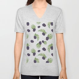 Hand painted black green watercolor fruity blackberries Unisex V-Neck