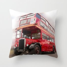 Old Red London Bus Vintage transport Throw Pillow
