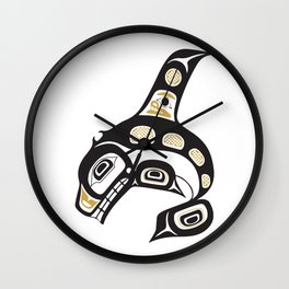 Northwest Pacific American Native Totem In Gold No. 13 Wall Clock
