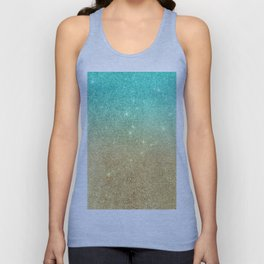 Aqua teal abstract gold ombre glitter Unisex Tank Top