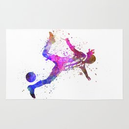 Girl playing soccer football player silhouette Rug