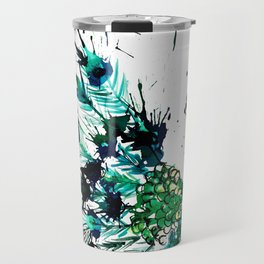 Peacock profile ink splatter Travel Mug