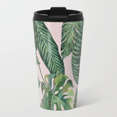 Jungle Leaves, Banana, Monstera Pink #society6 Travel Mug
