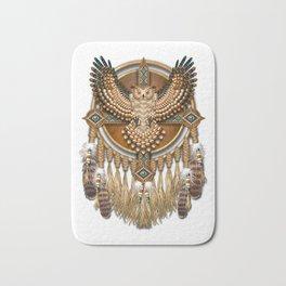 Native American-Style Great Horned Owl Mandala Bath Mat