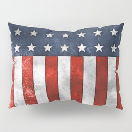 American Flag Stars and Stripes Distressed Grunge 4th. July Pillow Sham
