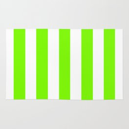 Lawn green - solid color - white vertical lines pattern Rug