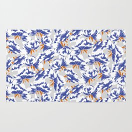 Japanese peonies pattern - blue and orange Rug