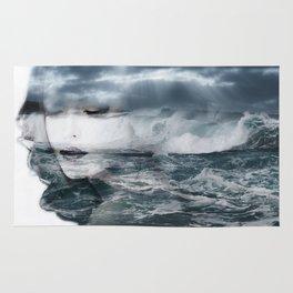 Sea. Double exposure portrait Rug