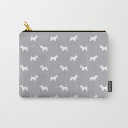 West Highland Terrier dog pattern minimal dog lover gifts grey and white Carry-All Pouch
