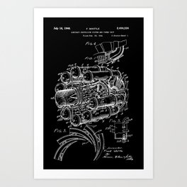 Jet Engine: Frank Whittle Turbojet Engine Patent - White on Black Art Print