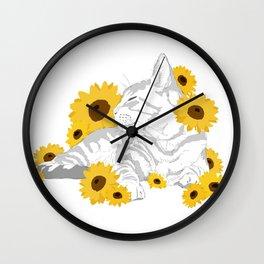 Sunflower cat Wall Clock