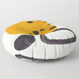 Unique Abstract Unique Mid century Modern Yellow Mustard Black Ring Dots Floor Pillow