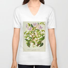 Clematis Campaniflora Vintage Botanical Floral Flower Plant Scientific Illustration Unisex V-Neck