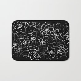 White ink. graphic with white ink and black cardboard. flowers Bath Mat