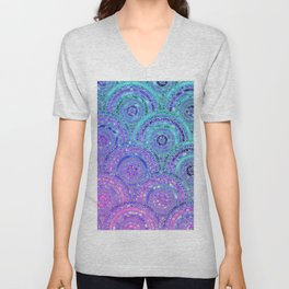 Aqua Blue Purple and Pink Sparkling Glitter Circles Unisex V-Neck