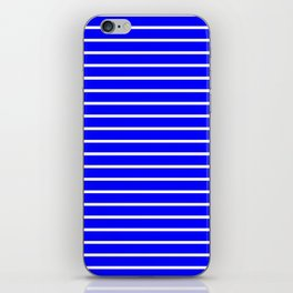 Horizontal Lines (White/Blue) iPhone Skin