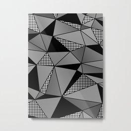 Monochrome Polygons Metal Print