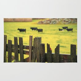 Pasture, fence and cows Rug