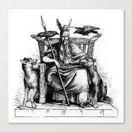 Odin on his throne Huginn Muninn ravens Viking Sagas Canvas Print