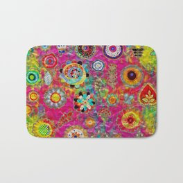 Boho Flowers Abstract mixed media digital art collage Bath Mat