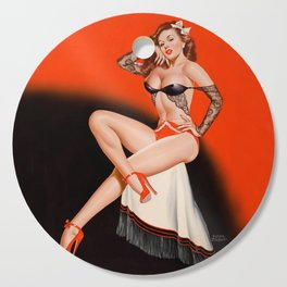 Pin-Up in Black Lace by Peter Driben Cutting Board
