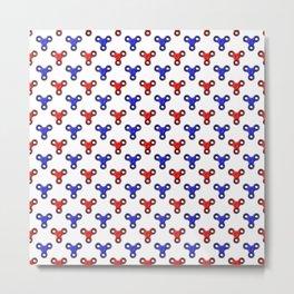 Finger Spinner Polka Dot Red and Blue Pattern Metal Print