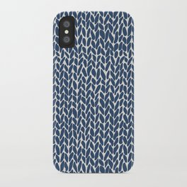 Hand Knit Navy iPhone Case