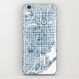 Washington DC Blueprint watercolor map iPhone Skin