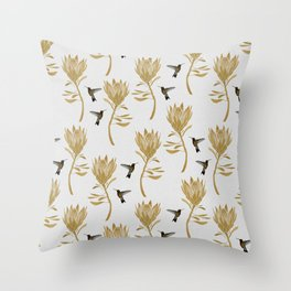 Hummingbird & Flower I Throw Pillow