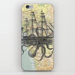 Octopus Attacks Ship on map background iPhone Skin