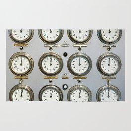 Retro clock faces on control panel Rug