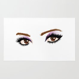 Brown female eyes with make up Rug