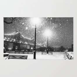 New York City Night Snow Rug