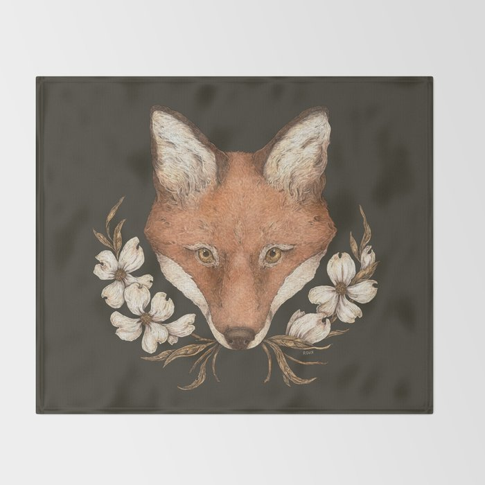 The Fox and Dogwoods Throw Blanket