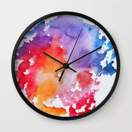Vivid - abstract painting with pink, purple, red, orange, blue colors that pop Wall Clock