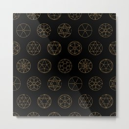 Geocircles (Golden) Metal Print