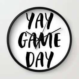 Yay Game Day Football Sports Black Text Wall Clock
