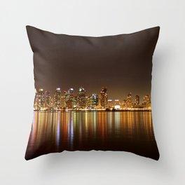 San Diego Skyline Night Throw Pillow