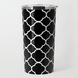 Quatrefoil Shape (Quatrefoil Tiles) - Black White Travel Mug
