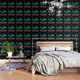 World Map - Teal and Copper Explore Globe Wallpaper