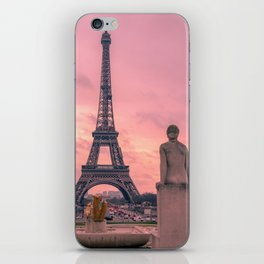 Pink View of Eiffel Tower Paris France iPhone Skin