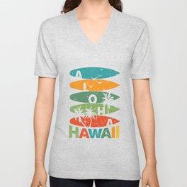 Hawaiian Surfboards Retro Aloha Hawaii Unisex V-Neck
